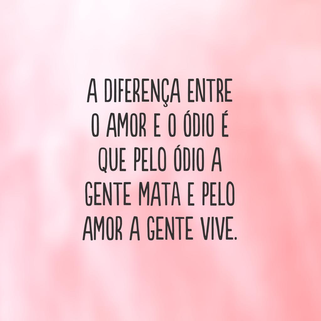 A diferença entre o amor e o ódio é que pelo ódio a gente mata e pelo amor a gente vive.