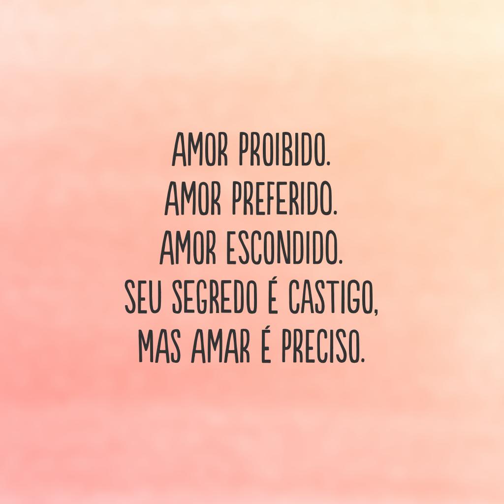 Amor proibido. Amor preferido. Amor escondido.  Seu segredo é castigo,  mas amar é preciso.