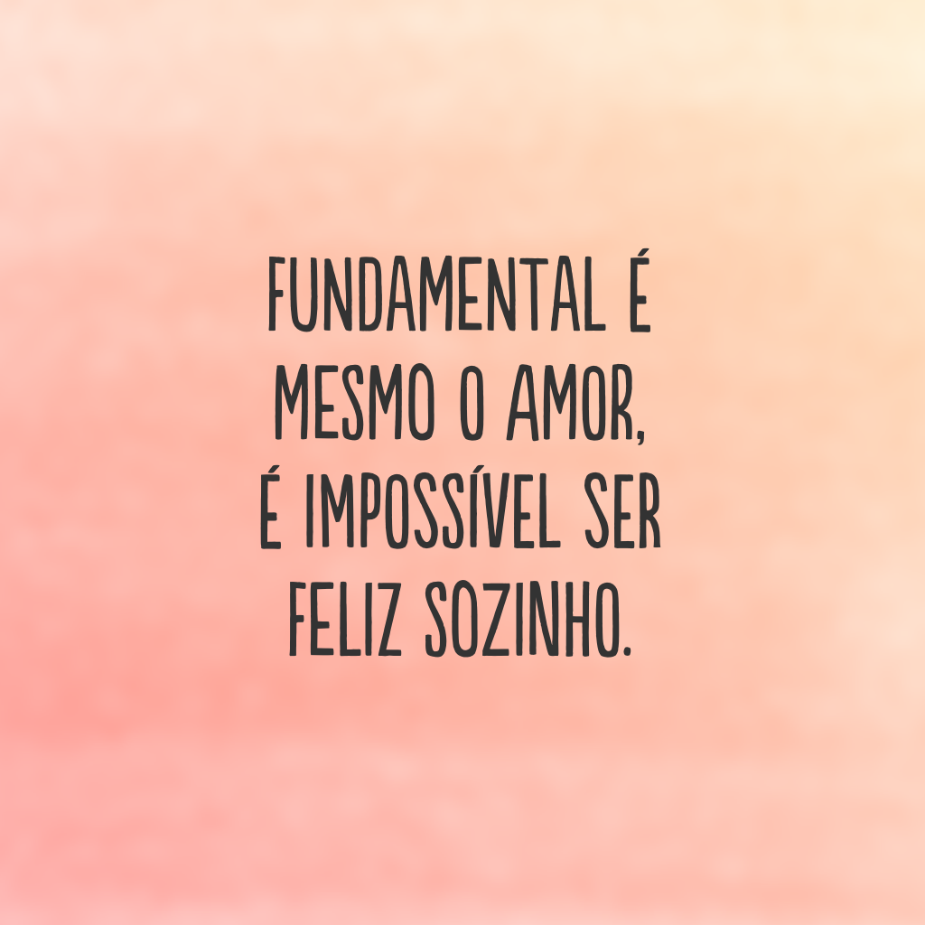 Fundamental é mesmo o amor, é impossível ser feliz sozinho.