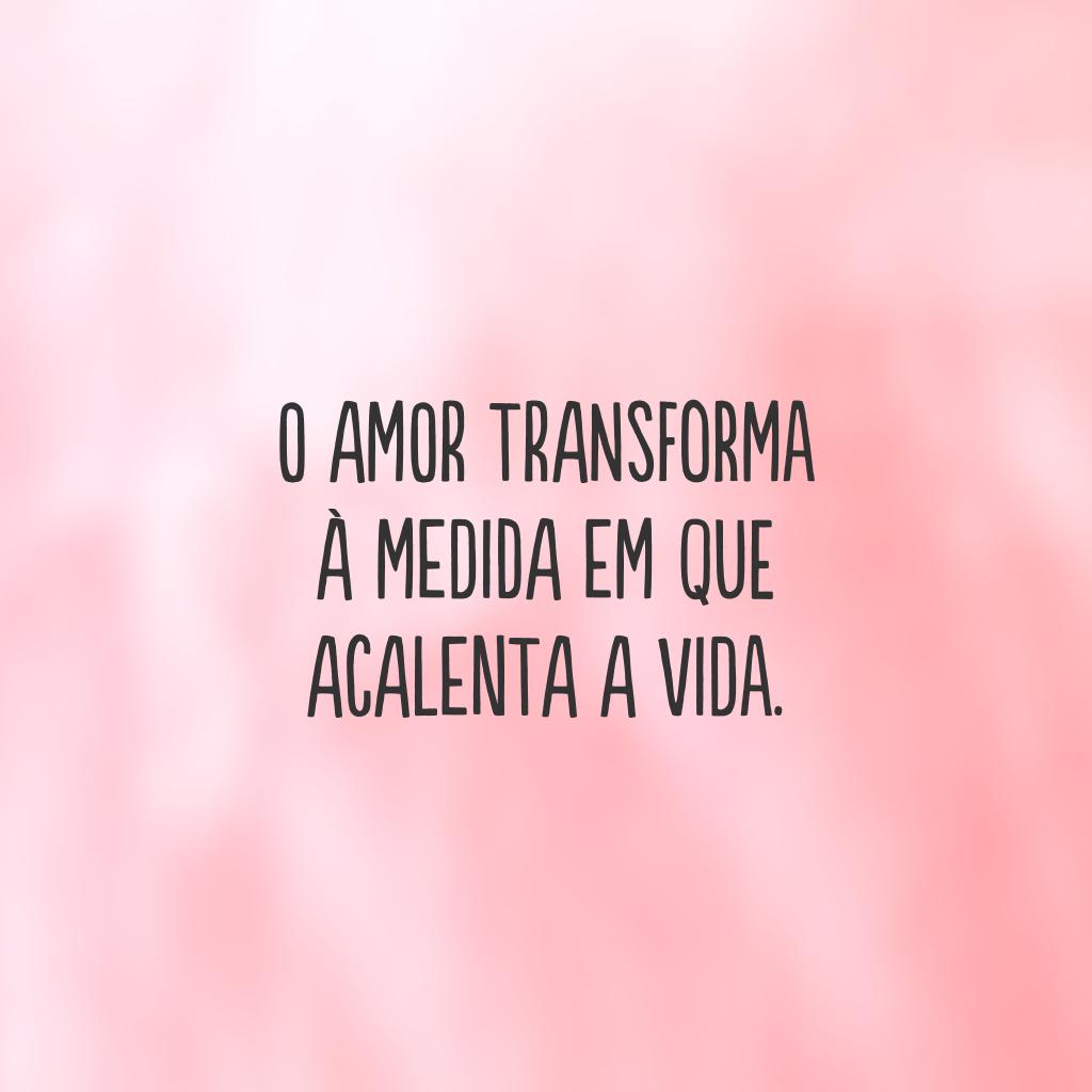 O amor transforma à medida em que acalenta a vida.