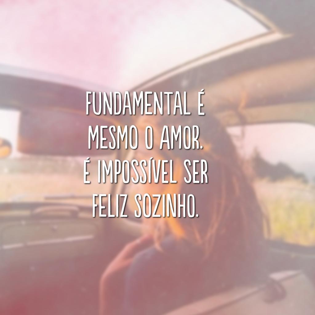 Fundamental é mesmo o amor. É impossível ser feliz sozinho.
