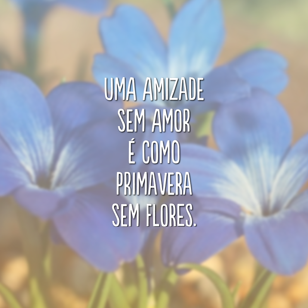 Uma amizade sem amor é como primavera sem flores.