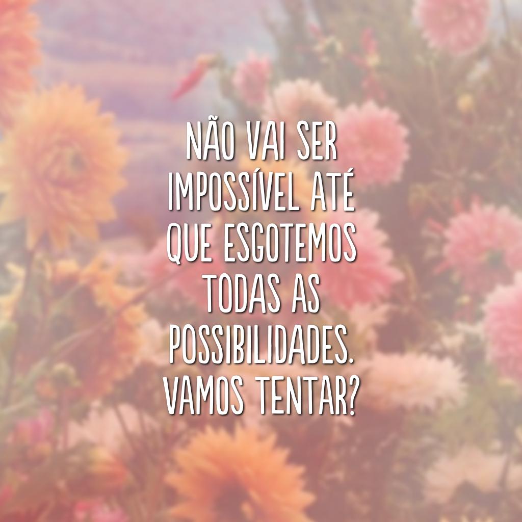 Não vai ser impossível até que esgotemos todas as possibilidades. Vamos tentar?