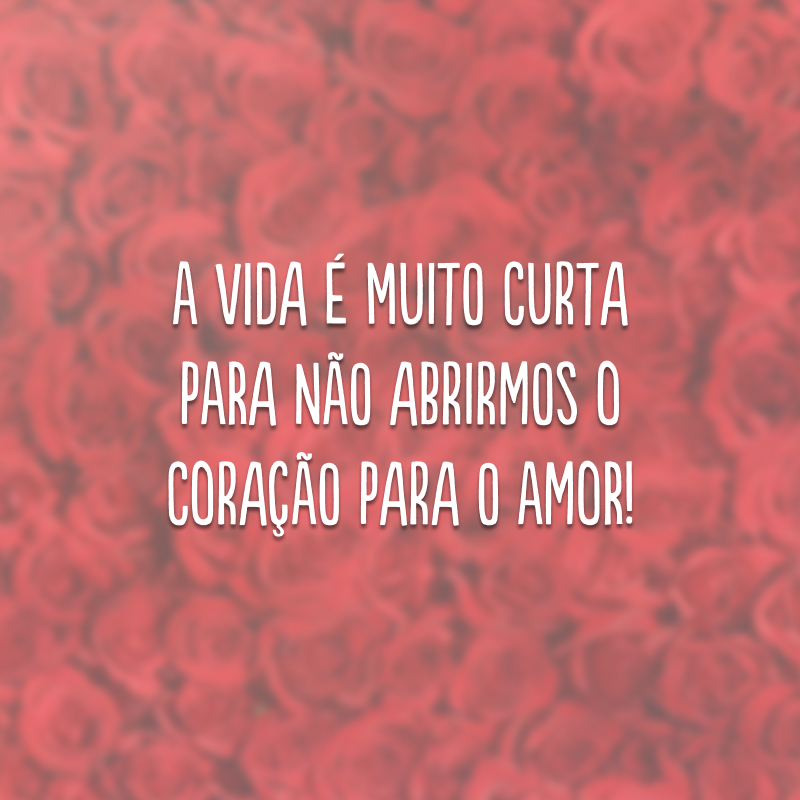 A vida é muito curta para não abrirmos o coração para o amor!