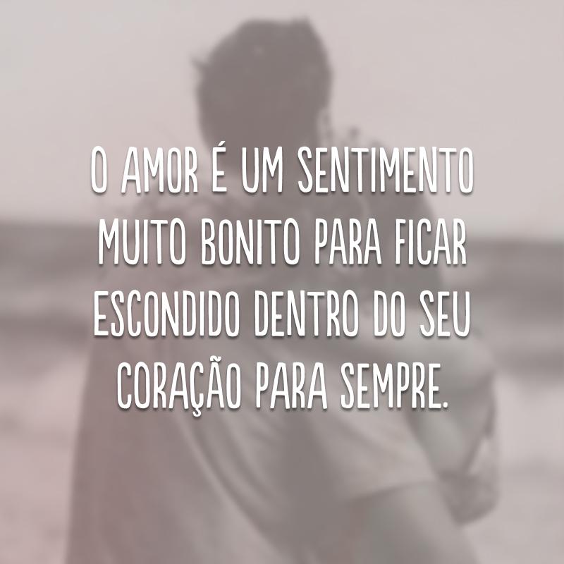 O amor é um sentimento muito bonito para ficar escondido dentro do seu coração para sempre.