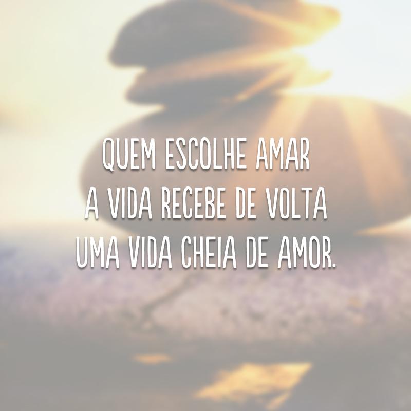 Quem escolhe amar a vida recebe de volta uma vida cheia de amor.