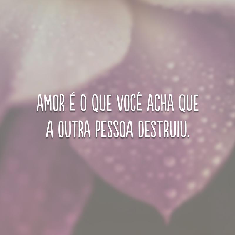 Amor é o que você acha que a outra pessoa destruiu.