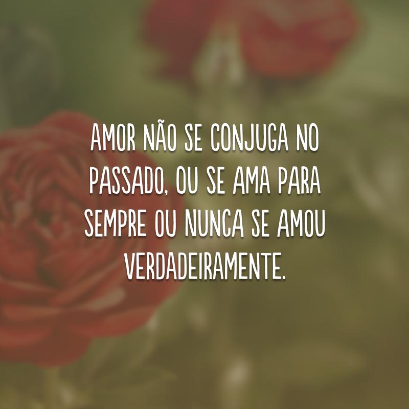 Amor não se conjuga no passado, ou se ama para sempre ou nunca se amou verdadeiramente.