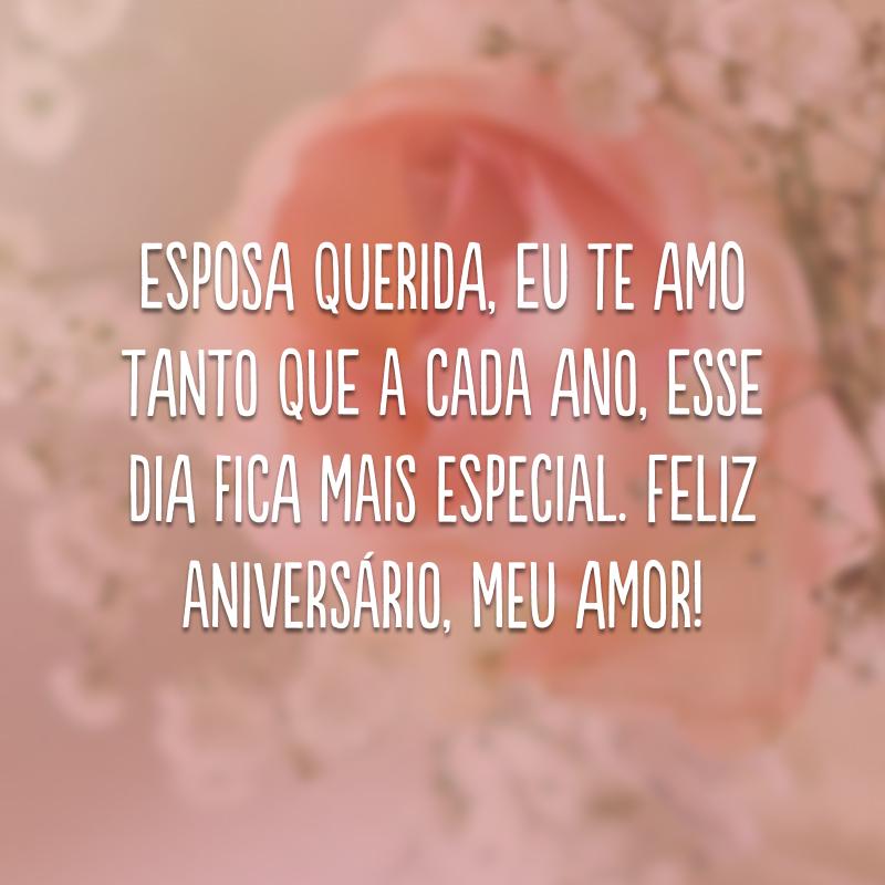 Esposa querida, eu te amo tanto que a cada ano, esse dia fica mais especial. Feliz aniversário, meu amor!