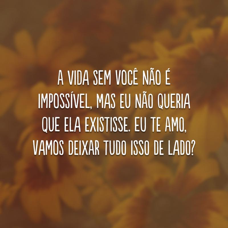 A vida sem você não é impossível, mas eu não queria que ela existisse. Eu te amo, vamos deixar tudo isso de lado?