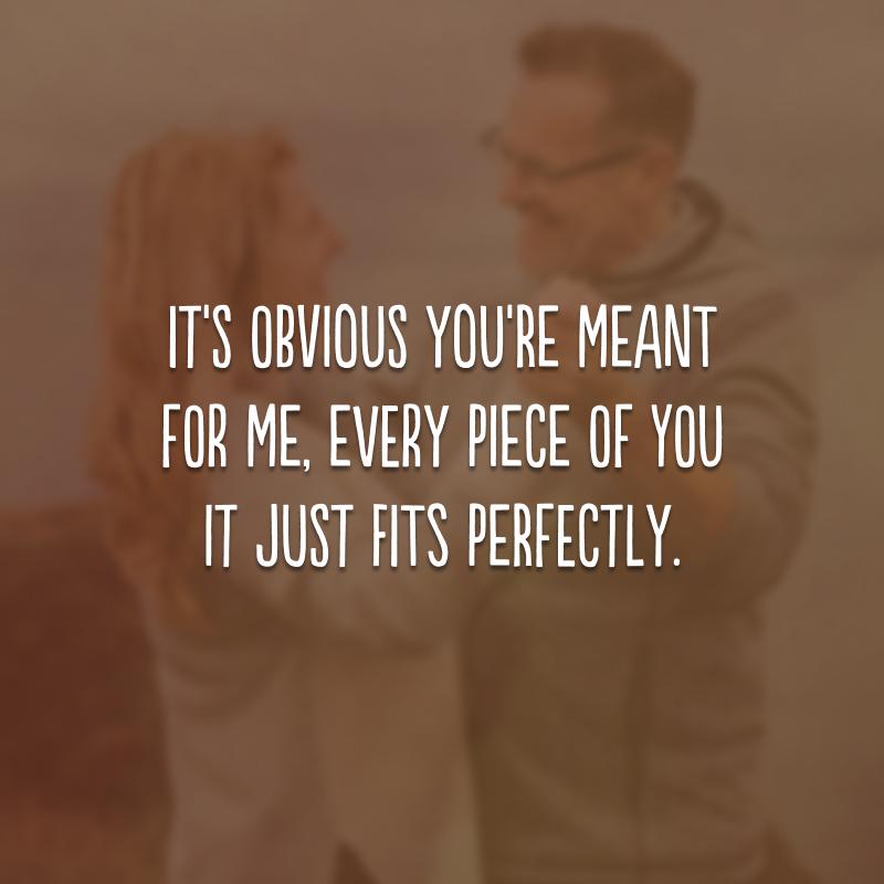 It's obvious you're meant for me, every piece of you it just fits perfectly. (É óbvio que você está destinado para mim, cada pedaço seu se encaixa perfeitamente.)