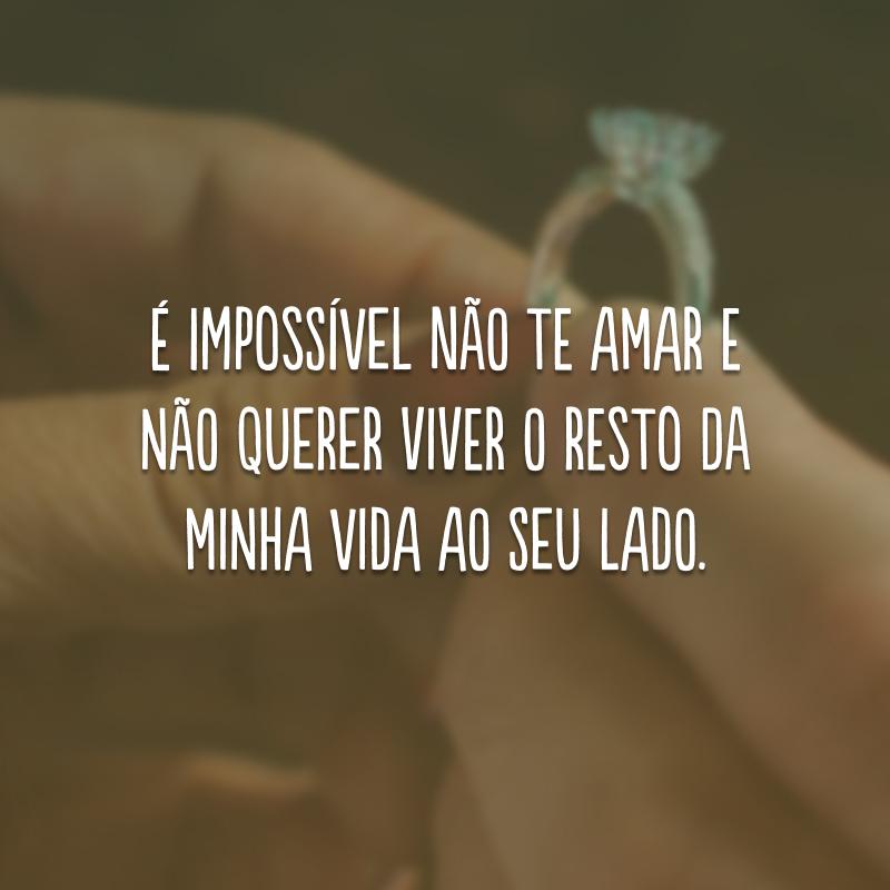 É impossível não te amar e não querer viver o resto da minha vida ao seu lado.