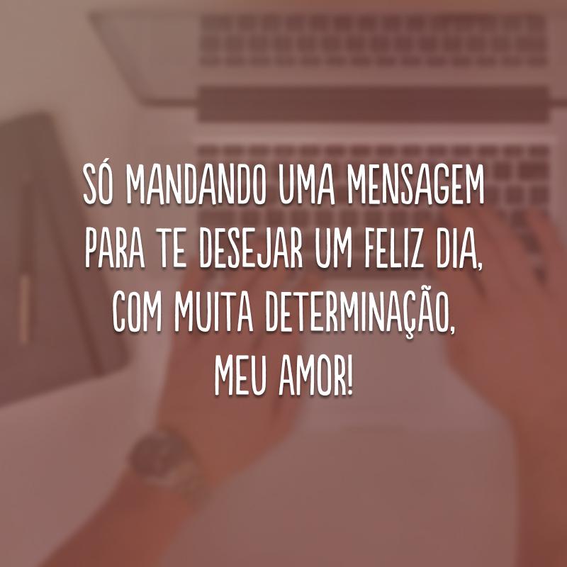 Só mandando uma mensagem para te desejar um feliz dia, com muita determinação, meu amor!