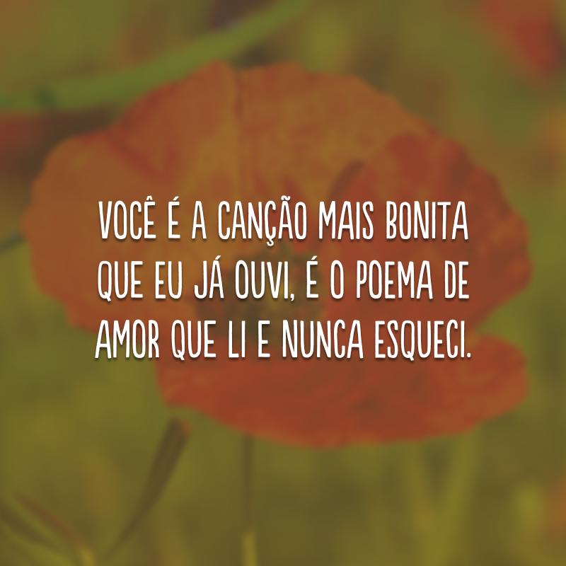 Você é a canção mais bonita que eu já ouvi, é o poema de amor que li e nunca esqueci.