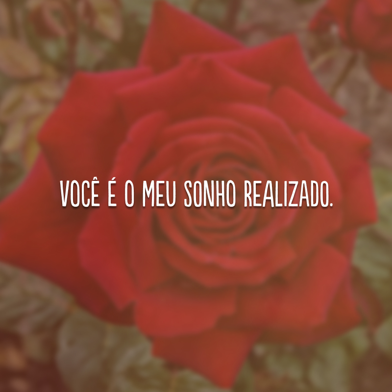Você é o meu sonho realizado.