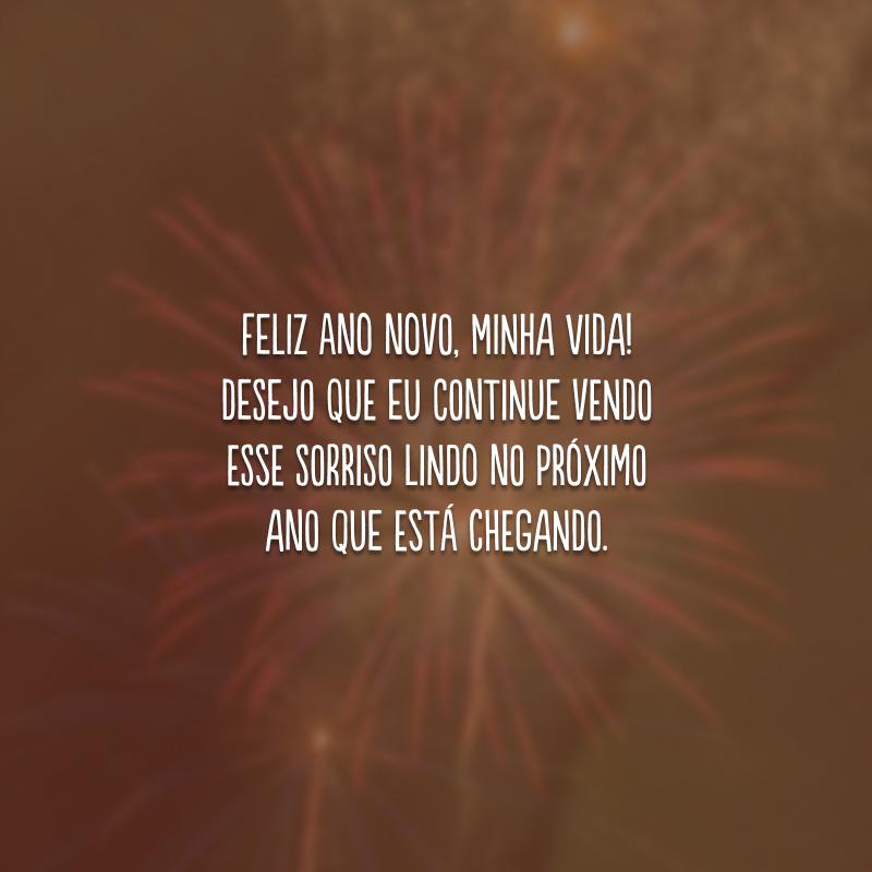 Feliz Ano Novo, minha vida! Desejo que eu continue vendo esse sorriso lindo no próximo ano que está chegando.