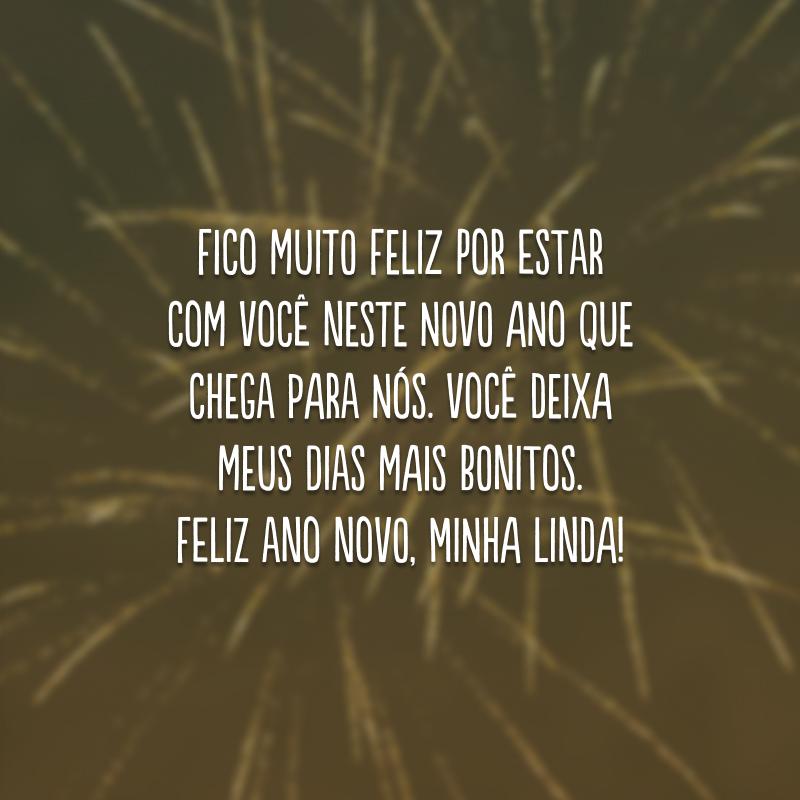Fico muito feliz por estar com você neste novo ano que chega para nós. Você deixa meus dias mais bonitos. Feliz Ano Novo, minha linda!