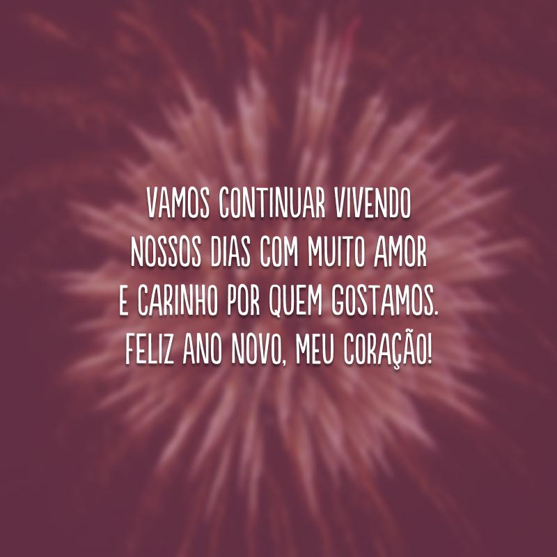 Vamos continuar vivendo nossos dias com muito amor e carinho por quem gostamos. Feliz Ano Novo, meu coração!