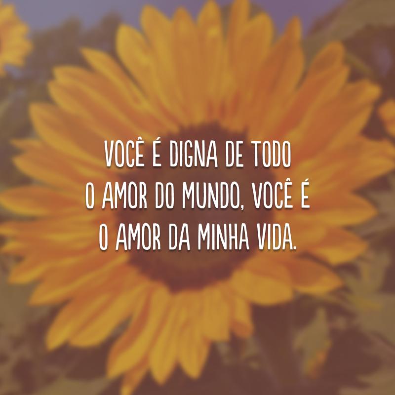 Você é digna de todo o amor do mundo, você é o amor da minha vida.