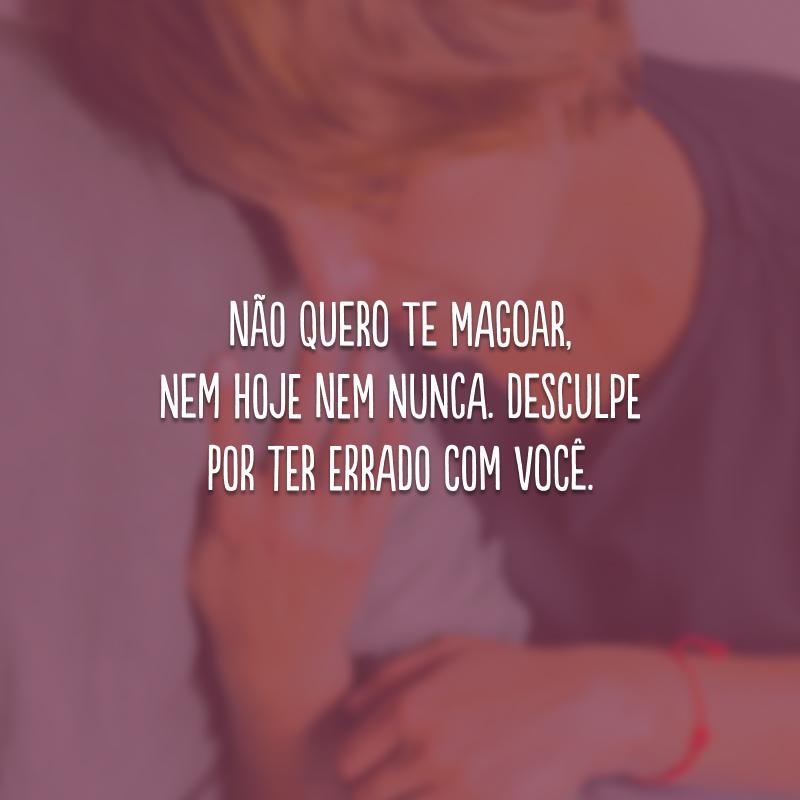 Não quero te magoar, nem hoje nem nunca. Desculpe por ter errado com você.